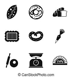 Cakes icons set, simple style - Cakes icons set. Simple...