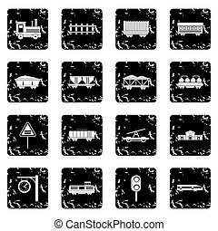 Railway icons set in grunge style isolated on white...