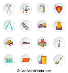 Industry icons set - Idustry icons set. Cartoon illustration...