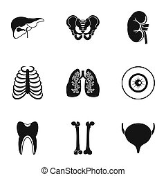 Bodies icons set, simple style - Bodies icons set. Simple...