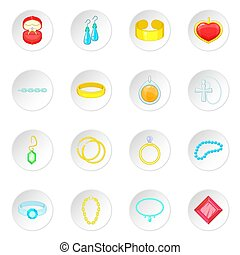 Jewelry items icons set. Cartoon illustration of 16 jewelry...