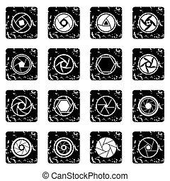 diafragma, foto, Conjunto, iconos