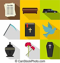 Funeral icons set, flat style - Funeral icons set. Flat...