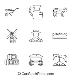 Animal farm icons set, outline style - Animal farm icons...