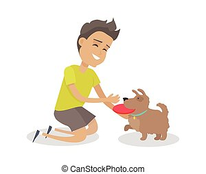 Boy Playing Frisbee with His Dog - Smiling boy playing...