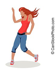 Street Dancer Woman Illustration in Flat Design
