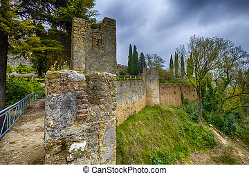 Castle wall in Portugal - The big strong wall of the castle...