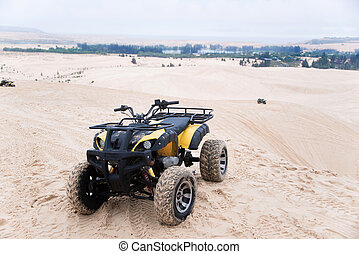 ATV car with white sands. Vietnam desert,Popular tourist...