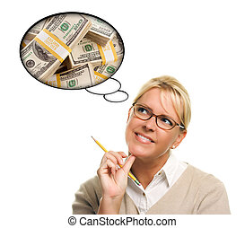 Woman with Thought Bubbles Lots of Money - Woman with...