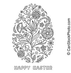Floral easter egg on white background. Coloring page for...