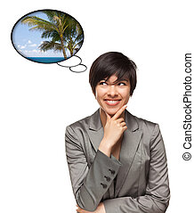 Beautiful Multiethnic Woman with Thought Bubbles of a Tropical Place Isolated on a White Background.