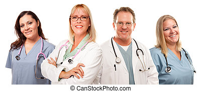 Set of Smiling Male and Female Doctors or Nurses Isolated on...
