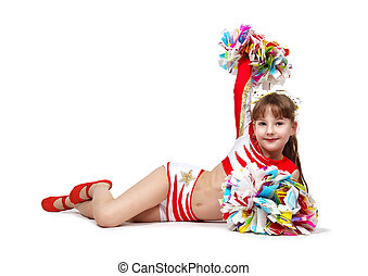cheerleading girl with pompoms - Young cheerleading girl...