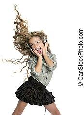 bailando, poco, rubio, niña, auriculares,...