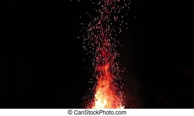 Camp Fire Sparks Rising - Sparks rising from blazing bonfire