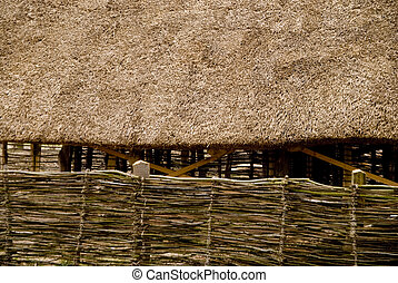 stone age - detail-photo of a reconstructed stone age house