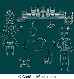 welcome to hungary - illustration in style of flat design on...