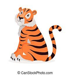 Tiger Panthera Tigris Cartoon Isolated on White. - Tiger...