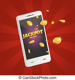 Jackpot money smart phone coins big win. Big income earn mobile technology