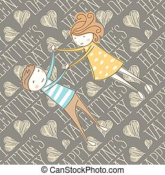 Vector Seamless Card With Couple 13 [Converted] - Valentine...