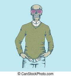 Vector skull illustration. Hand drawn skull. Skull human in...