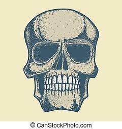 Vector skull illustration. Hand drawn skull. Spooky and...