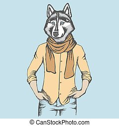 Husky in human shirt - Vector dog concept. Hand draw vector...