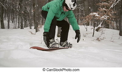 Snowboarder Set Board Equipment - Young attractive...