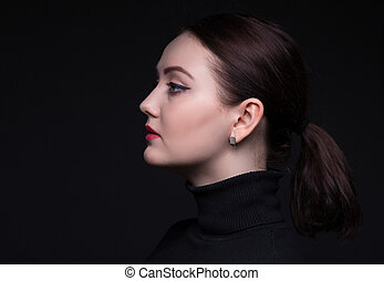 Portrait of woman in profile