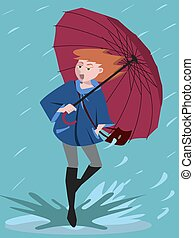 girl came in a puddle on rainy day vector cartoon - girl...
