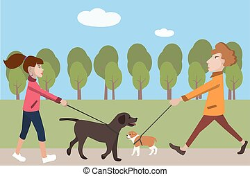people walking with dogs vector cartoon