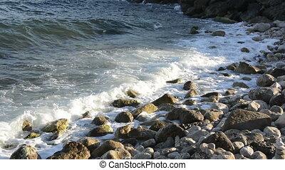 Ocean Waves Breaking On The Rocks.