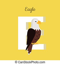 Animals Alphabet. Letter - E