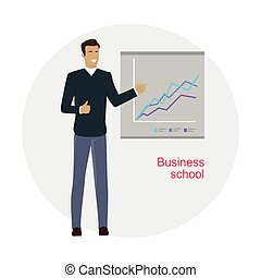 Man Standing Near Presentation Screen with Chart