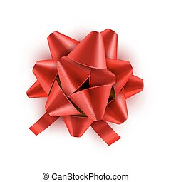 Red Bow ribbon isolated. Vector illustration for celebration birthday card. Festive red bow decoration for holiday gift