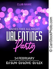Valentine day party design card banner with bokeh. Vector happy valentine love poster illustration. Party celebration card
