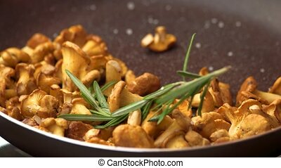 Chanterelles in a frying pan. Rosemary and yellow mushrooms....