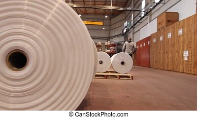 Big Plastic rolls in a factory - Modern generic industrial...