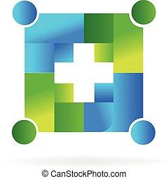 Logo team handle people - Team handle people in a cross...