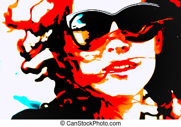 Pop Art Woman with Glasses. Modern style watercolor