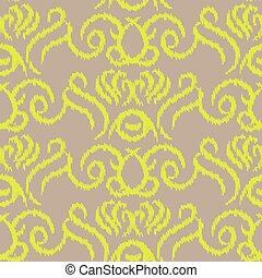 Ikat ogee vector seamless pattern. Abstract swirl background...