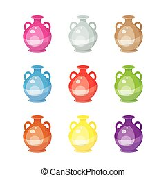Greek Urns - Nine Greek Urns isolated over white background....