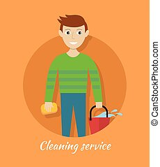 Member of Cleaning Service with Bucket and Sponge.