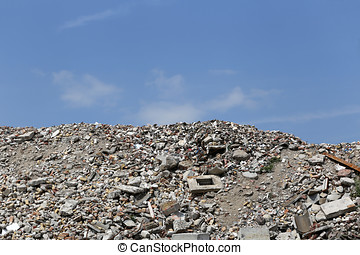 building rubble at recycling yard