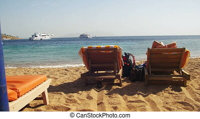 Sunbeds Overlooking the Red Sea - EGYPT, SOUTH SINAI, SHARM...