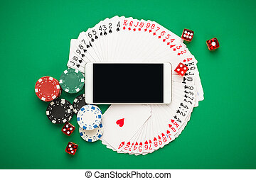 online casino concept, playing cards, dice chips and...