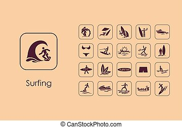 Set of surfing simple icons - It is a set of surfing simple...