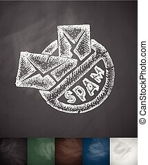 stop spam icon. Hand drawn vector illustration