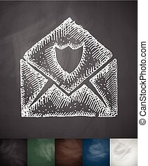 envelope antivirus icon. Hand drawn vector illustration....