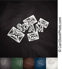 emails spam icon. Hand drawn vector illustration. Chalkboard...